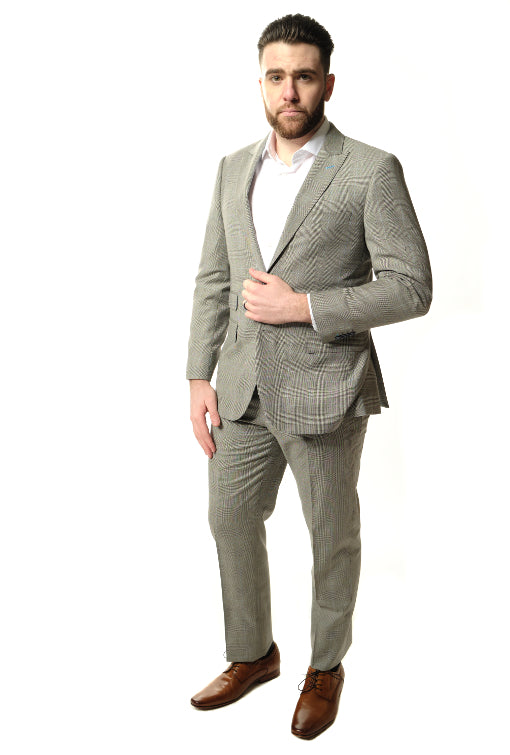 Modern Fit Grey Plaid Suit