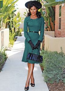 Michaelina 1940's Long Sleeve Fitted Dress by Stop Staring!