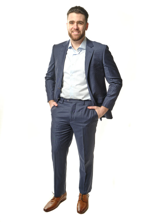 Modern Fit Navy Stripe Suit