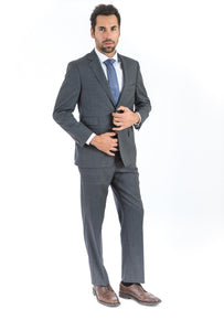 Grey Double Windowpane Classic Fit Suit