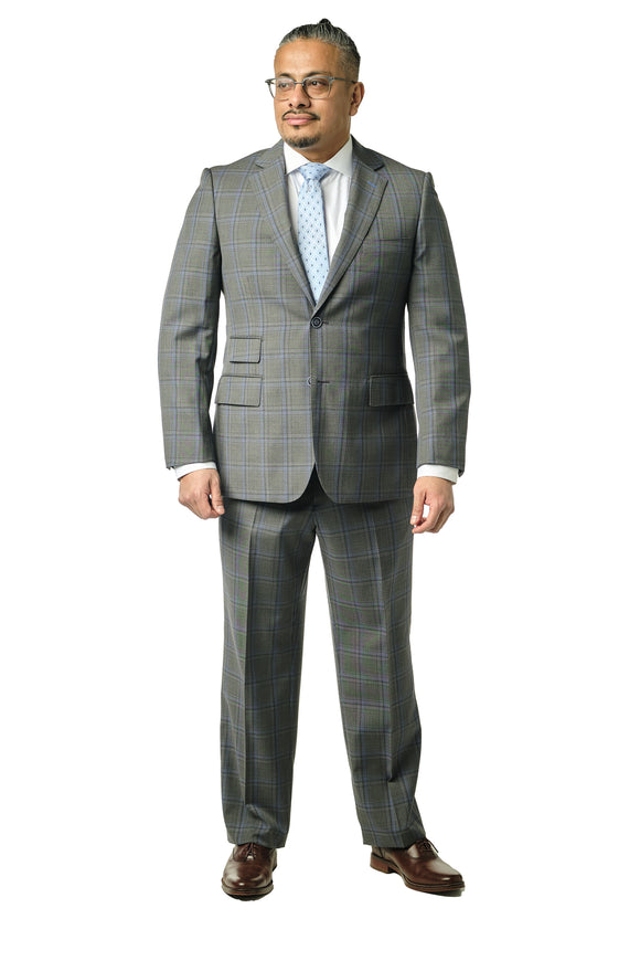 Grey Check Classic Fit Suit
