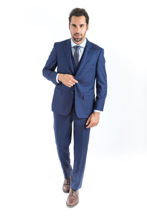 3 Piece Classic Fit Navy Nailhead Suit