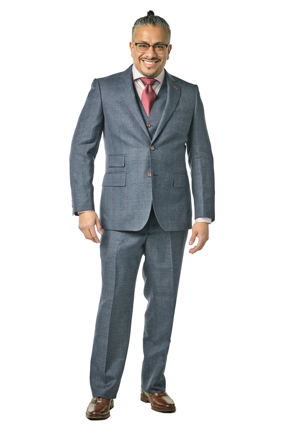 3 Piece Classic Fit Navy Sharkskin Check Suit