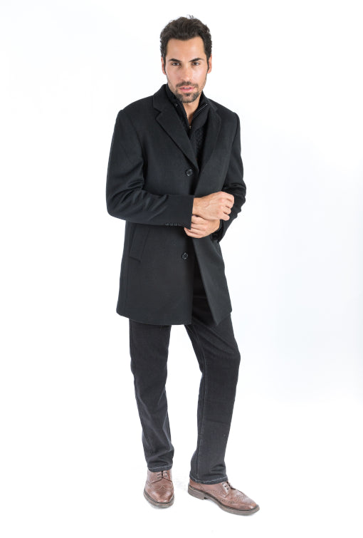 Black Classic Fit Overcoat