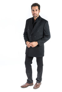 Black Double Breasted Classic Fit Overcoat