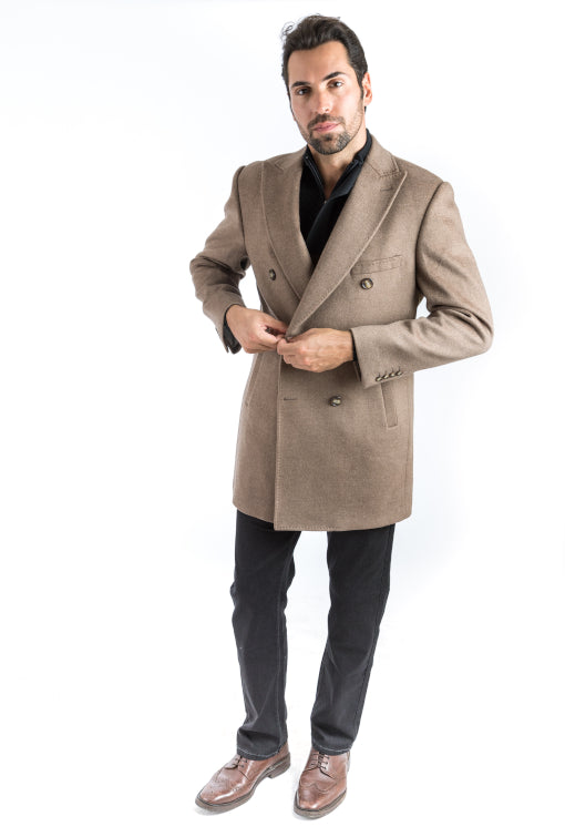 Camel Double Breasted Classic Fit Overcoat