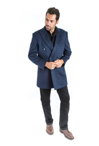 Navy Double Breasted Classic Fit Overcoat