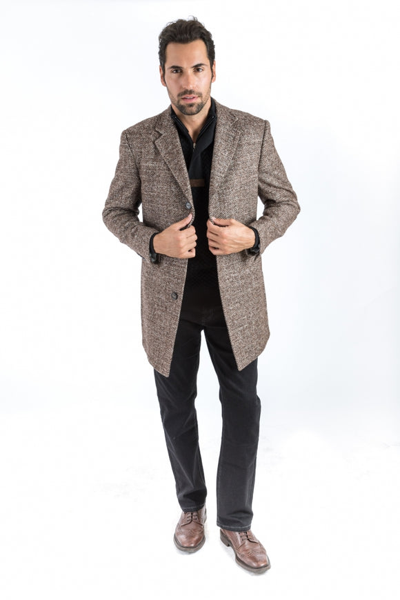 Brown Tweed Classic Fit Overcoat
