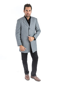 Grey Chains Classic Fit Overcoat