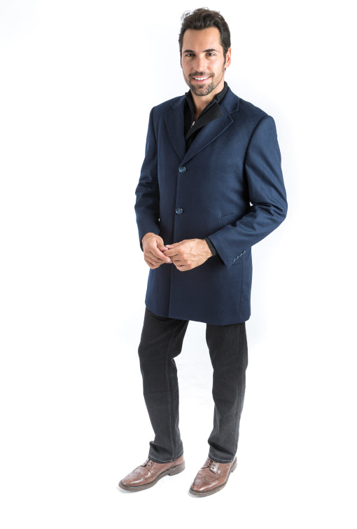 Navy Classic Fit Overcoat