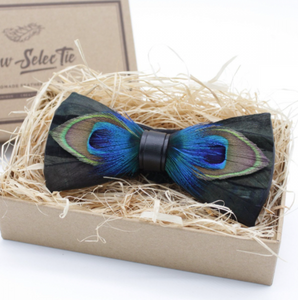 Original Peacock Feather Bow Tie