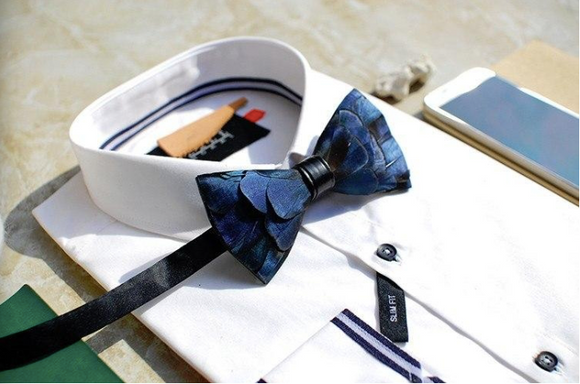Blue Feather Bow Tie