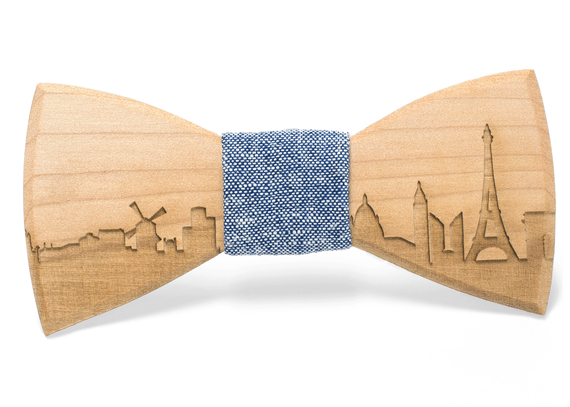 Maple Paris Skyline Handmade Wooden Bow Tie