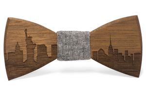 Walnut New York Skyline Handmade Wooden Bow Tie