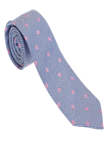 Blue and Pink Polka Dot Necktie