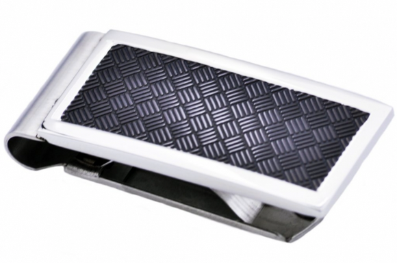 Black Plated Crosshatch Stainless Steel Money Clip