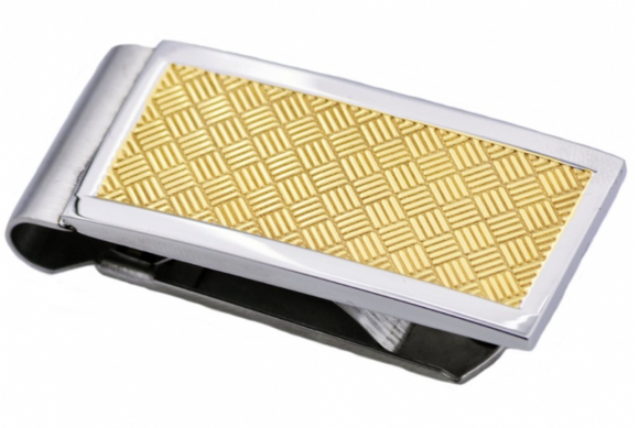 Gold Plated Crosshatch Stainless Steel Money Clip