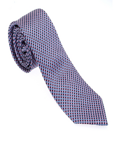 Blue and Pink Geometric Necktie