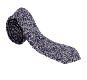 Navy and White Pattern Geometric Necktie