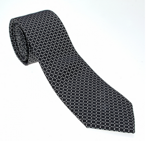 Black and White Diamond Pattern Geometric Necktie