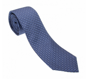 Black/Blue/White Diamond Pattern Geometric Necktie