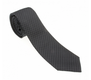 Black and White Thin Diamond Pattern Geometric Necktie