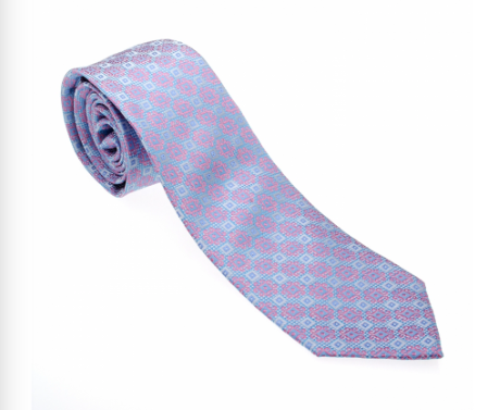 Baby Blue and Pink Pattern Geometric Necktie