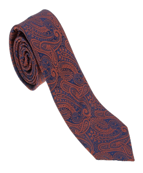 Orange and Navy Paisley Necktie