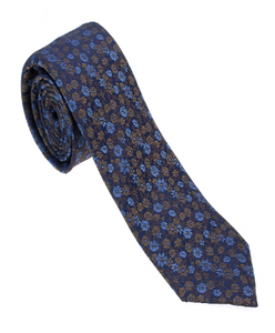 Brown and Blue Floral Necktie