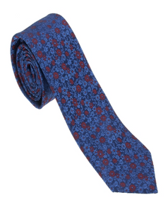 Blue and Red Floral Necktie