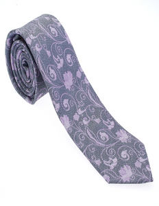Grey and Light Purple Floral Necktie