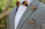 Walnut Geometric Blue Chambray Wooden Pocket Square