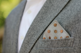 Oak Dot Grey Denim Wooden Pocket Square
