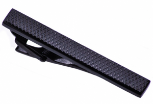 Black Plated Crosshatch Tie Clip
