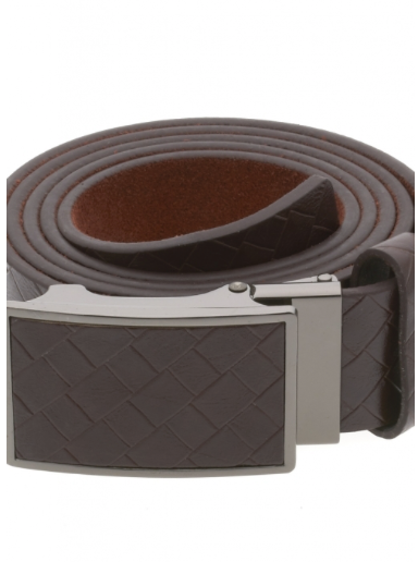 Brown Belt with Textured Buckle