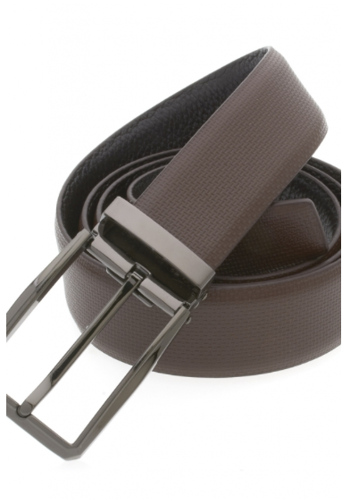 Traditional Dark Brown Belt with Oxidized Buckle