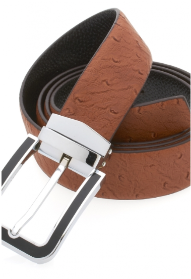 Traditional Brown Belt with Silver Black Plated Buckle