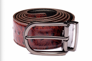 Traditional Brown Textured Belt with Oxidized Buckle