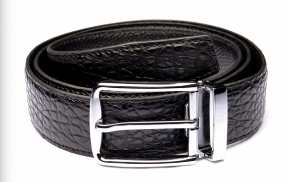 Traditional Black Textured Belt with Silver Buckle