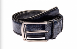 Traditional Textured Dark Blue Belt with Silver Buckle