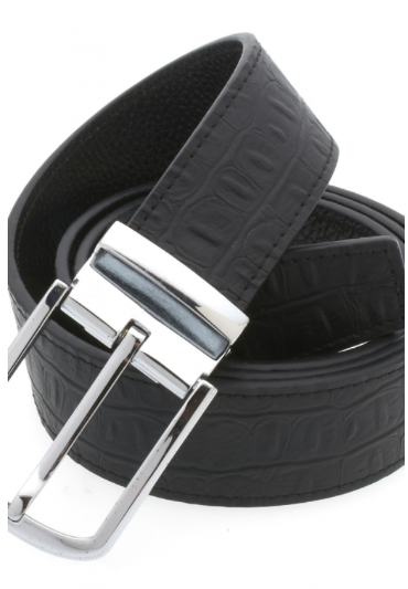 Traditional Textured Black Belt with Silver Buckle