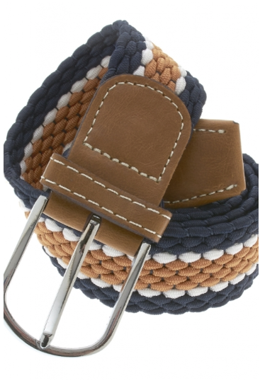 Tan and Navy Stretch Belt
