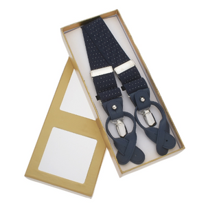 Navy Suspenders with White Dots