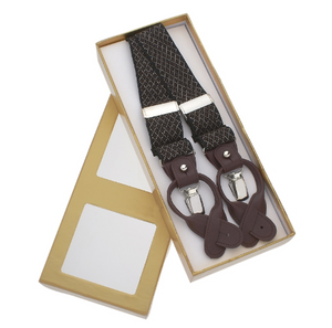 Brown Suspenders with White Crosshatch