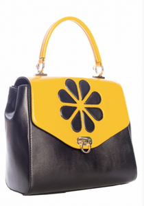 Mustard/Black Waterlily Handbag