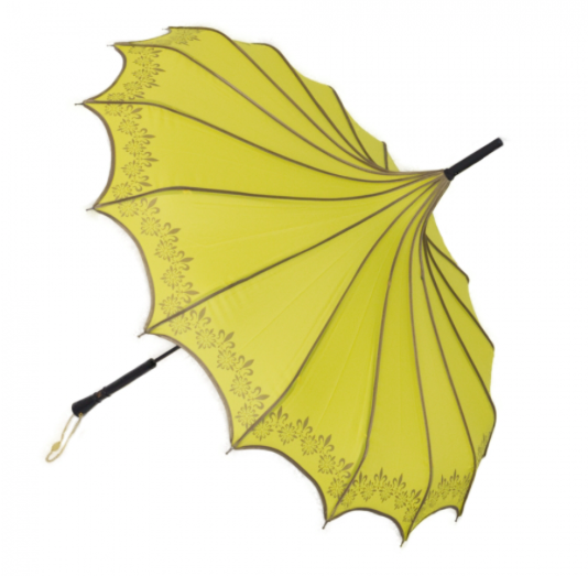 Yellow & Gold Vintage Pagoda Shaped Umbrella