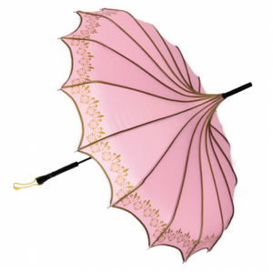 Pink & Gold Vintage Pagoda Shaped Umbrella