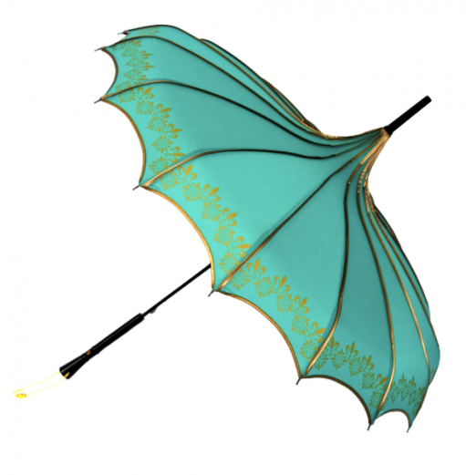 Teal & Gold Vintage Pagoda Shaped Umbrella