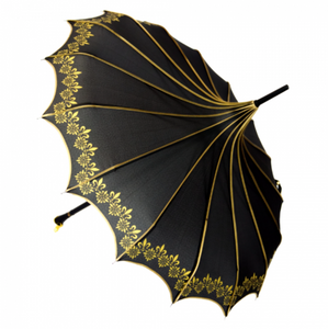 Black & Gold Vintage Pagoda Shaped Umbrella