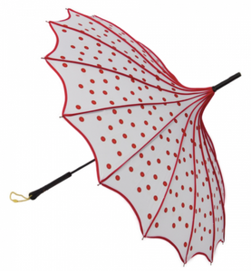 White with Red Polka Dots Vintage Pagoda Shaped Umbrella